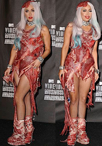 lady gaga meat dress images. Meat dress Lady Gaga @2010