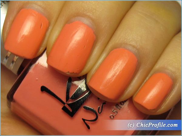 Kinetics-Raspberry-Cream-Nail-Polish-Swatch-4-Days-Top-Coat