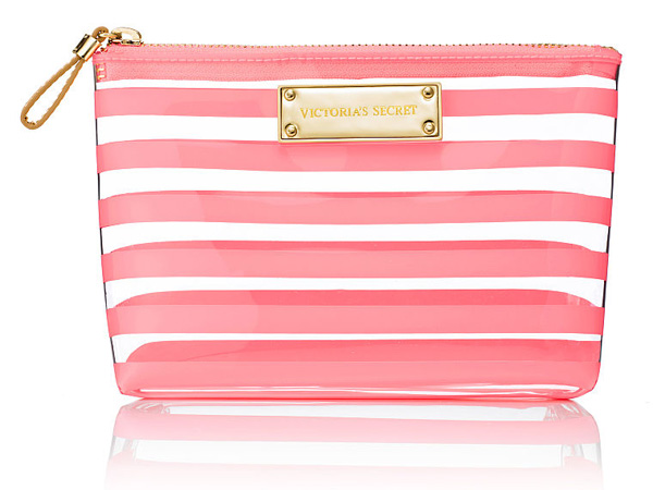 Victoria's-Secret-Coral-Stripe-Medium-Cosmetic-Bag