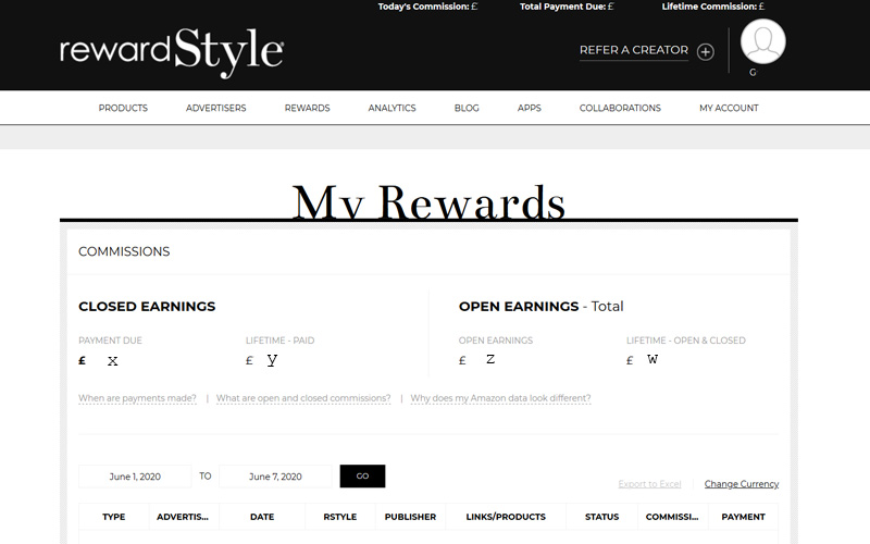 RewardStyle My Rewards Dashboard