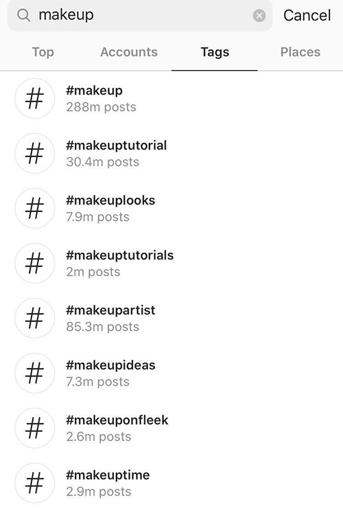Popular Instagram Makeup Hashtags