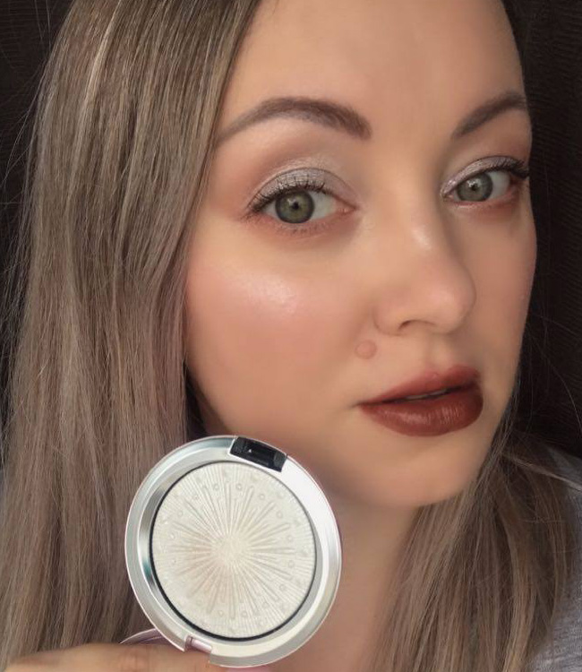 MAC Let It Glow Extra Dimension Skinfinish applied on the cheeks