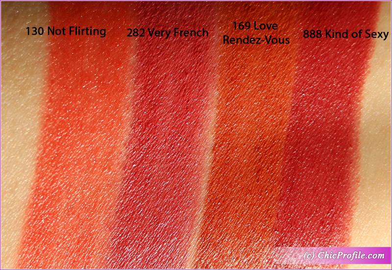 Lancome L'Absolu Rouge Intimatte Lipsticks Swatches