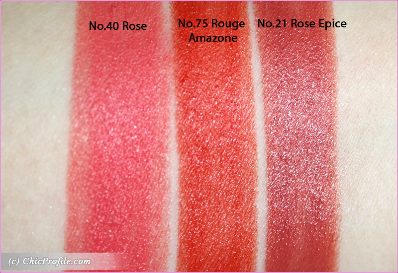 Hermes Rose Epice Rose Rouge Amazone Satin Lipsticks Swatches