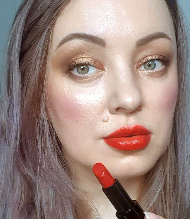 Hermes Rouge Amazone Satin Lipstick Makeup Look